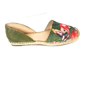 Marc Fisher Womens Green Floral Suede Espadrille